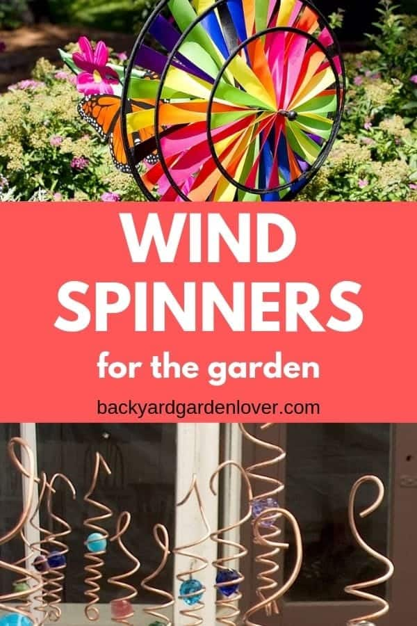 Adding a few wind spinners to your garden will liven it up. You can make your own garden spinner from wood or wire, or you can buy a ready made one that 's a bit more intricate. #gardenspinner #windspinner #spinners #gardenart #prettygardens