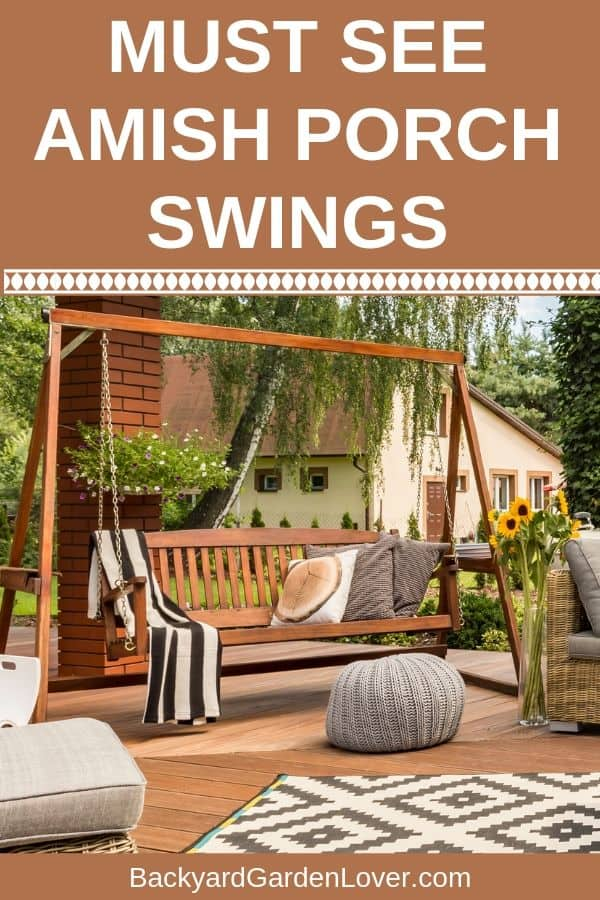 Do you ever dream of slowly swinging on your back porch, letting all your worries roll off your back? Amish porch swings are comfortable, and just perfect for any outdoor space. #amishporchswing #amishfurniture #amish #porchswing #backyard #aoutdoorspaces
