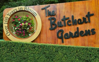Butchart gardens entrance sign