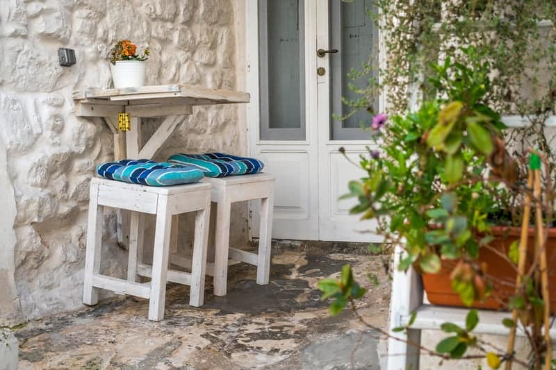 Romantic table for two on a small patio