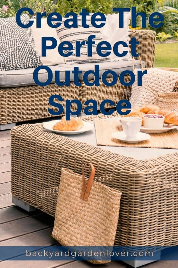 Create the perfect outdoor space by adding a patio furniture set and some colorful potted plants. #patiosets #backyard #patiofurniture #outdoorspace #cozypatio #patio