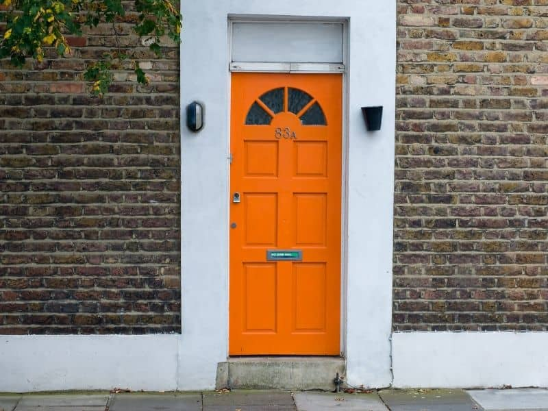 Bright orange front door