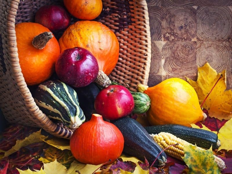 Fall fruits and veggies in a basket