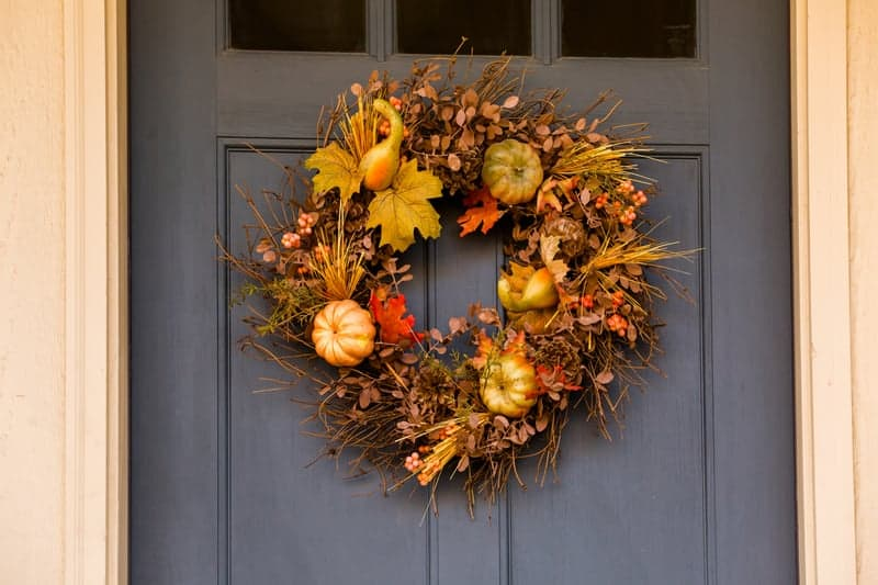 Fall wreath hanging on the front door
