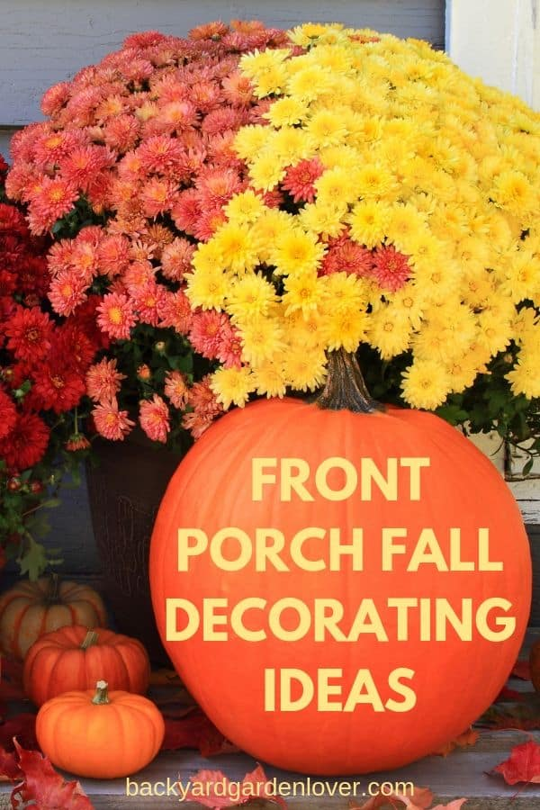Front porch fall decorating ideas - Pinterest image