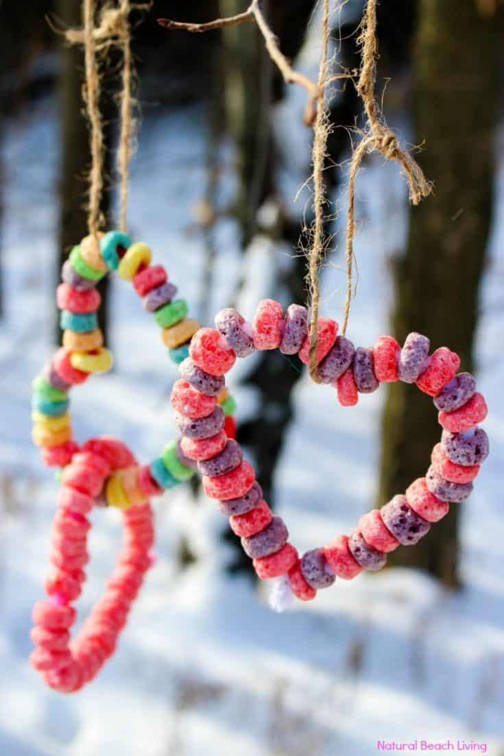 Kid Made Bird Feeder Ornaments - Heart Bird Feeder Crafts