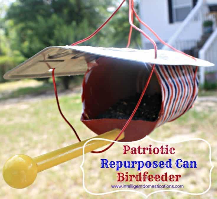 Patriotic Repurposed Can Birdfeeder