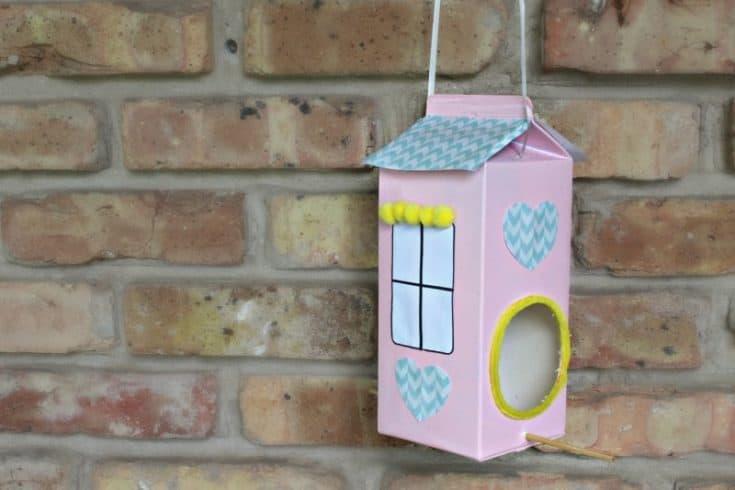 DIY Pink Milk Carton Bird Feeder – A Fun Project for the Entire Family