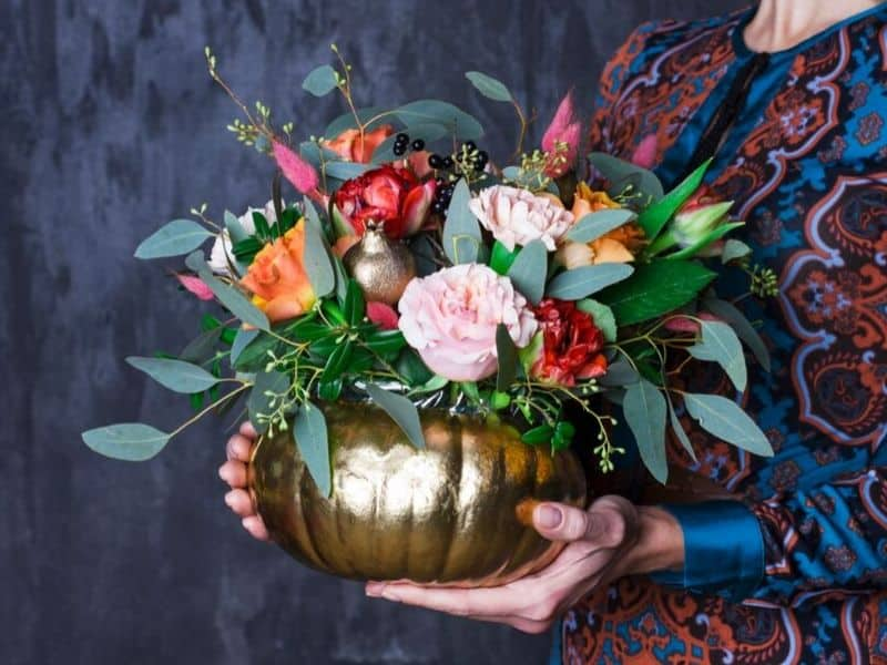 Dipped in gold pumpkin vase