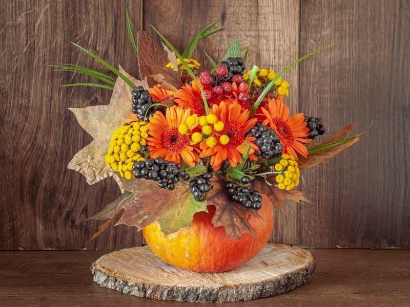 Fall flower arrangement in a pumpkin