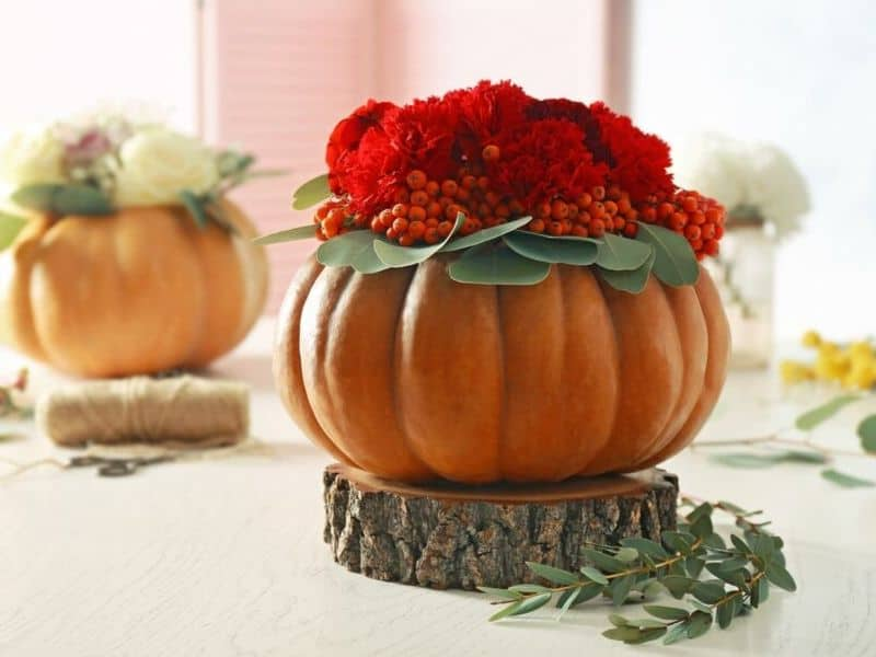 Red flowers and berries in a natural pumpkin bowl
