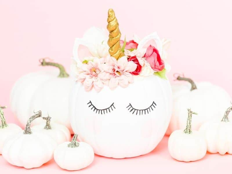 White unicorn pumpkins