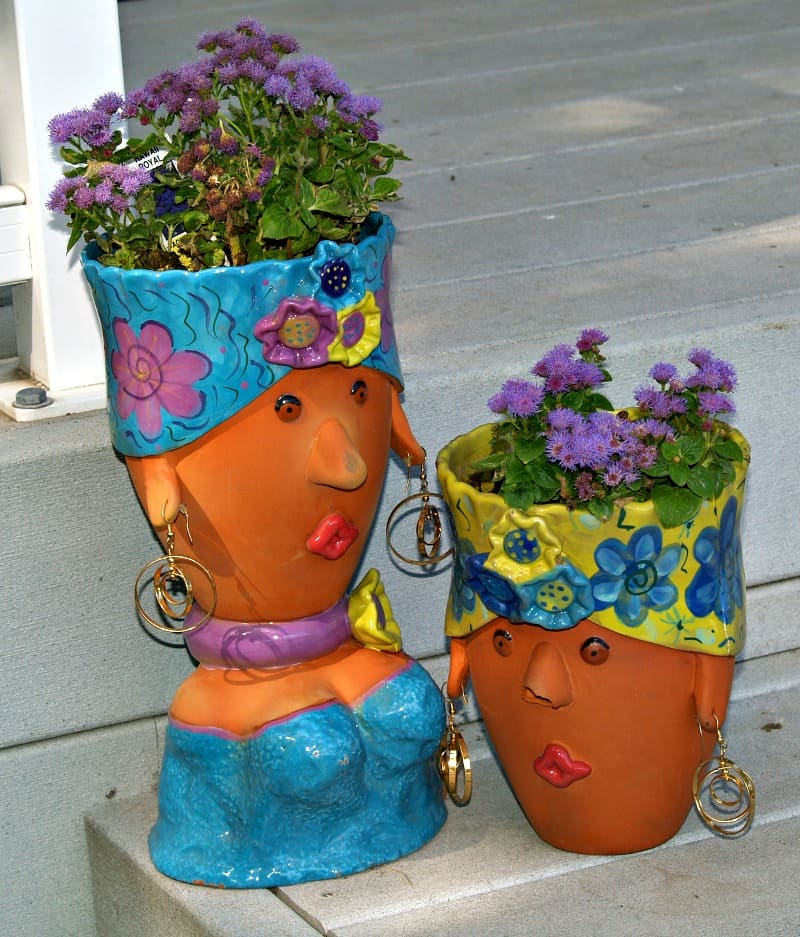 Colorful head planters