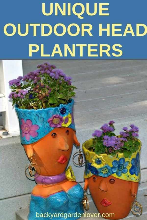 Colorful outdoor head planters
