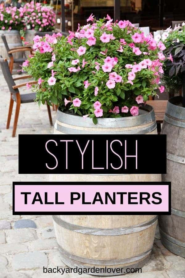 If you're looking for some stylish tall planters for your home and garden, you'll LOVE my collection of ideas! Great for both indoor and outdoor, these planters would look great by your front door, or on the back patio, filled with beautiful ferns, colorful flowers or any other arrangement you like. #tallplanters #planters #flowercontainers #containergarden #landscaping #landscape #gardendesign