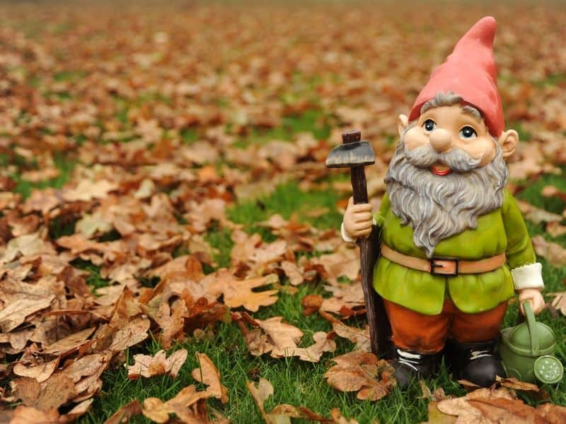 Gnome working in the garden