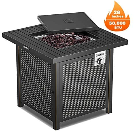 TACKLIFE Propane Fire Pit Table, Outdoor Companion, 28 Inch 50,000 BTU Auto-Ignition Gas Fire Pit Table with Cover