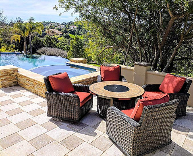 5 Piece Round Propane Gas Fire Pit Table Patio Conversation Set