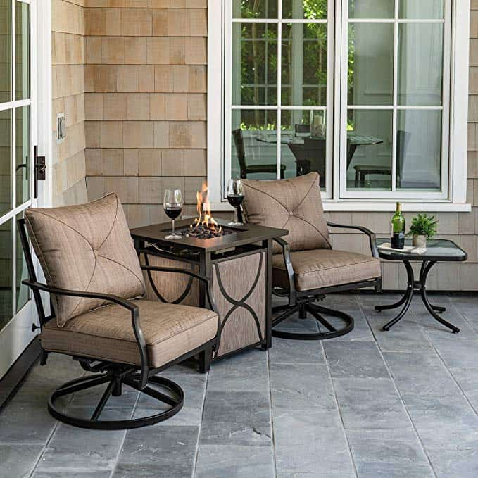 4-Piece Chat Set Featuring a 40,000 BTU Tile-Top Sling Fire Pit Table Outdoor Furniture