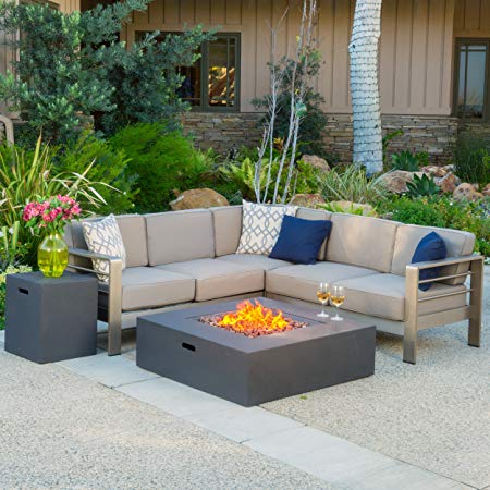 Christopher Knight Home 299881 Crested Bay Outdoor Aluminum Sectional Sofa Set with Propane Fire Table