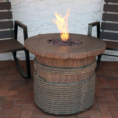 Sunnydaze Outdoor 29-Inch Rope and Barrel Design Propane Gas Fire Pit Table with Lava Rocks