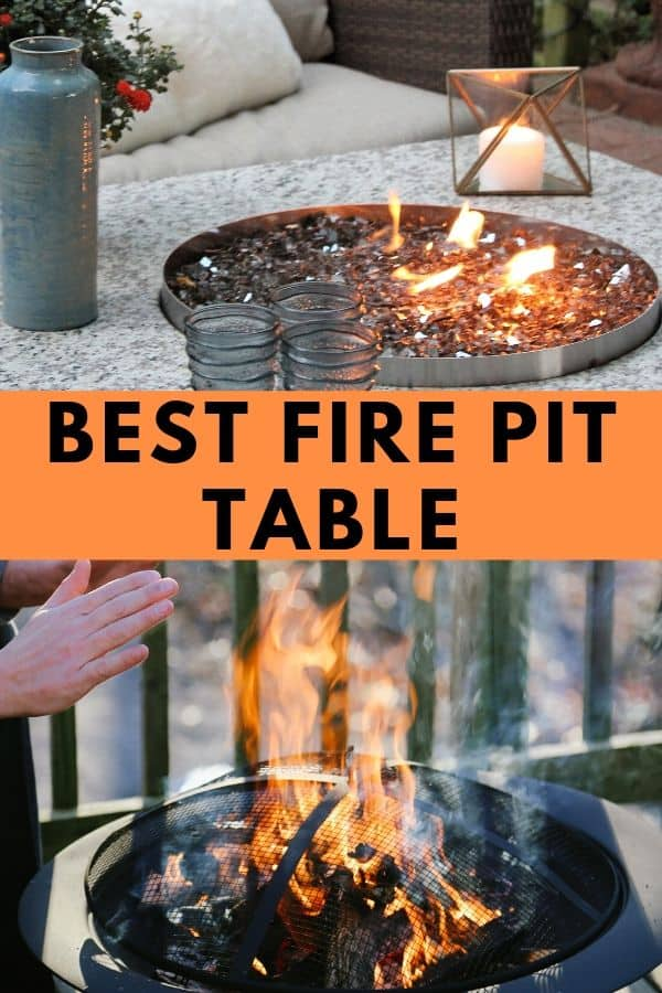 Check out the best fire pit table to add to your outdoor space. #backyard #outdoorspaces #firepit #firepittable #outdoorentertatining