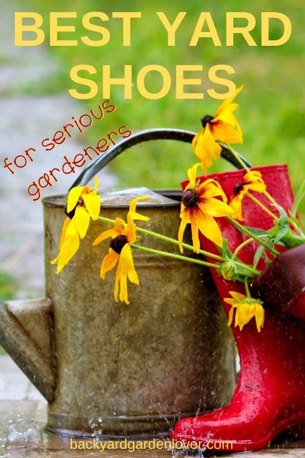Keep yourself safe while working in the garden with a pair of yard shoes: they'll keep your feet dry and protect them from garden debris and unwanted insects. #gardenshoes #yardshoes #gardening #landscaping #gardener #gardenaccessories