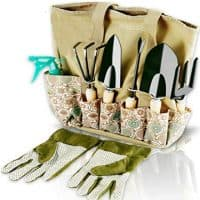 Garden tools set with storage organizer