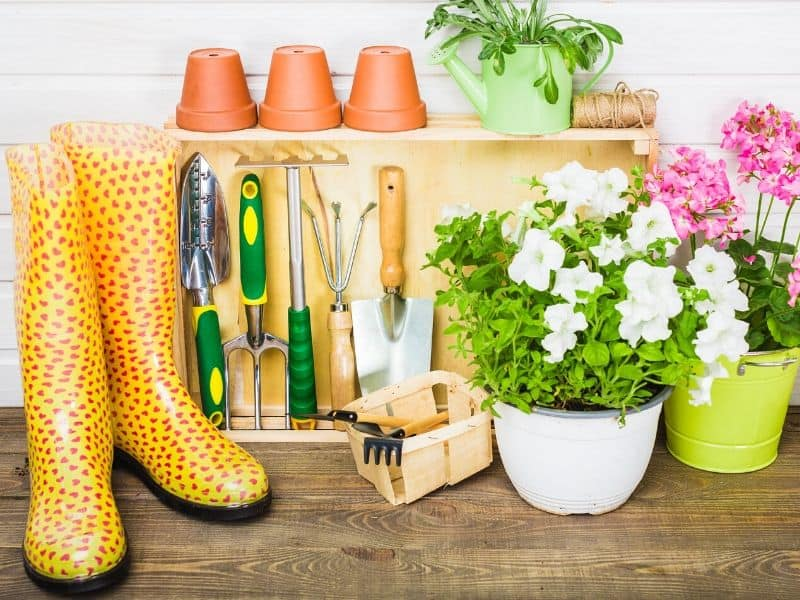 A bunch of garden supplies: rubber boots, pretty pots and gardening tools