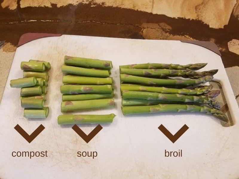 Preparing asparagus for cooking