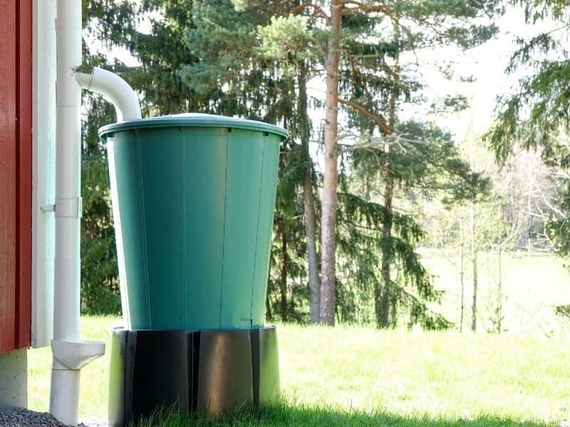 Green rainwater bucket
