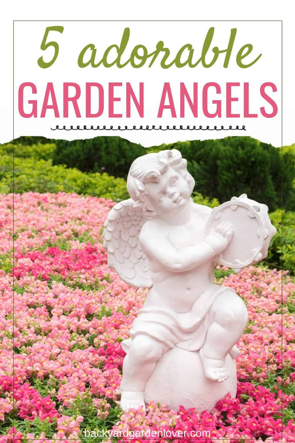White garden angel with pink flowers background