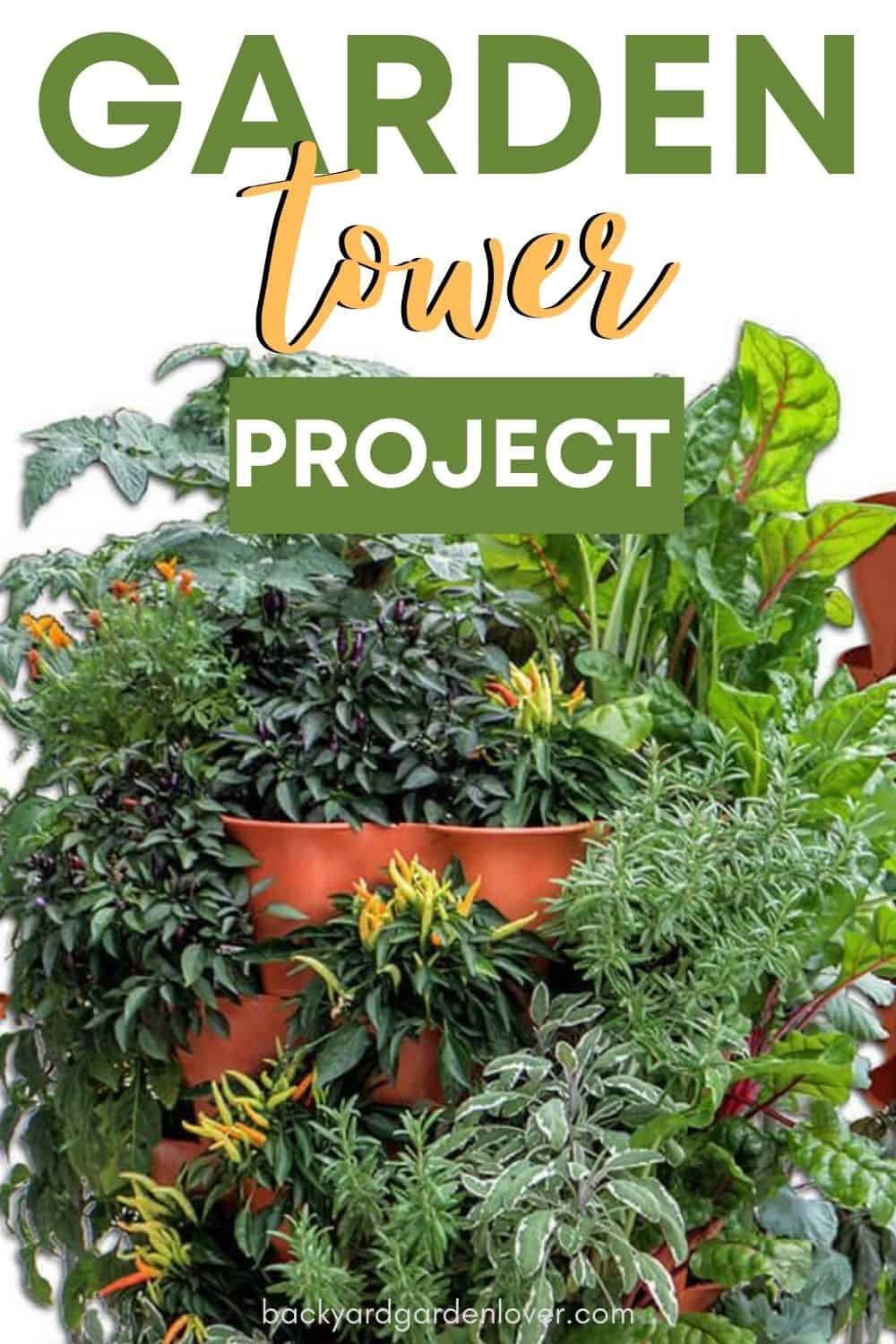 Garden tower project - Pinterest image