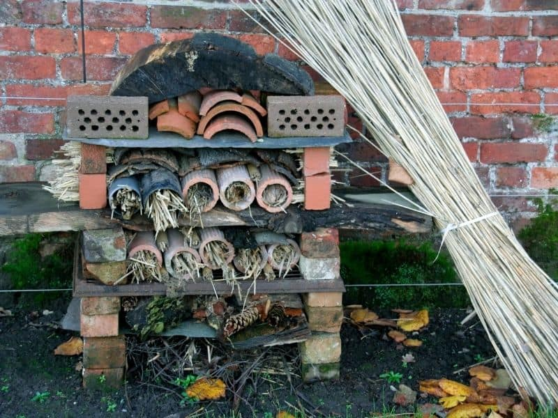 Insect hotel made from bricks, rocks, and plant matter