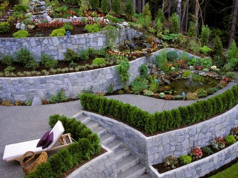 Retaining walls used ot lansdcape a hilly front yard