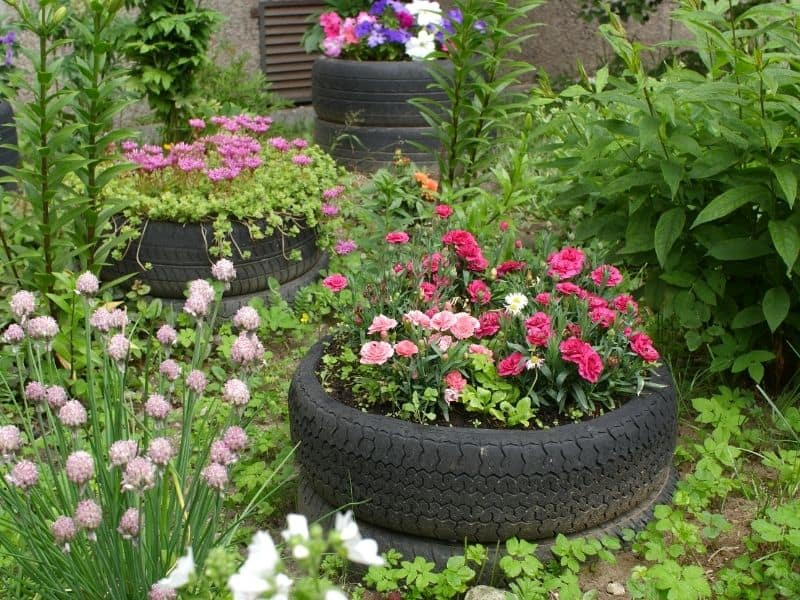 Tire planter filled with flowers