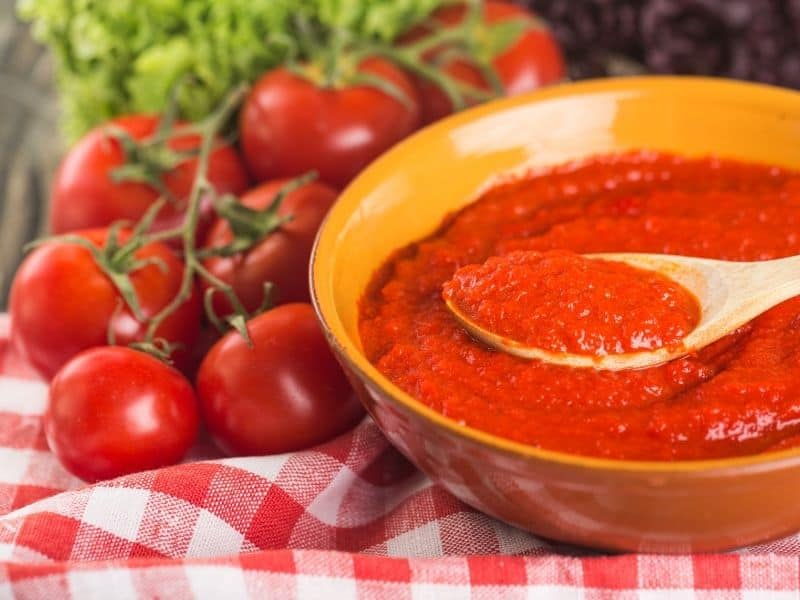 Tomato sauce in a bowl on the table