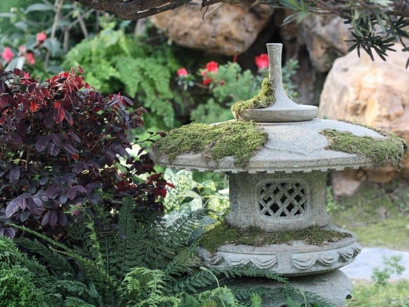 Asian style garden featuring a pagoda