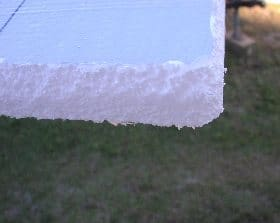 Rounded corner of cut styrofoam