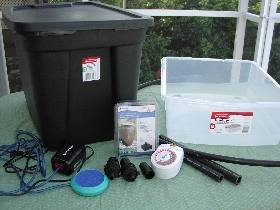 Supplies for building an ebb and flow system