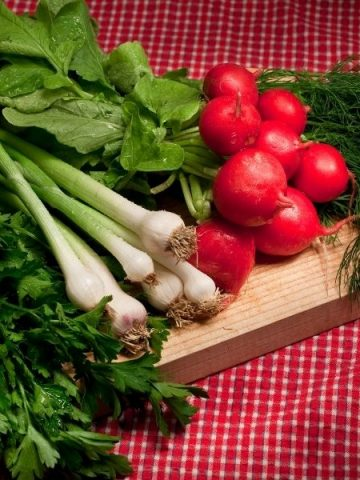 green onions, radishes, dill and parsley on a cutting board