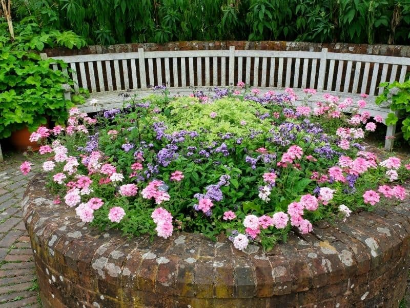 Round raised flower bed made of bricks