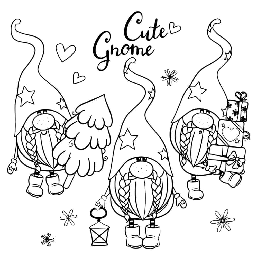 Cute Christmas gnome coloring page