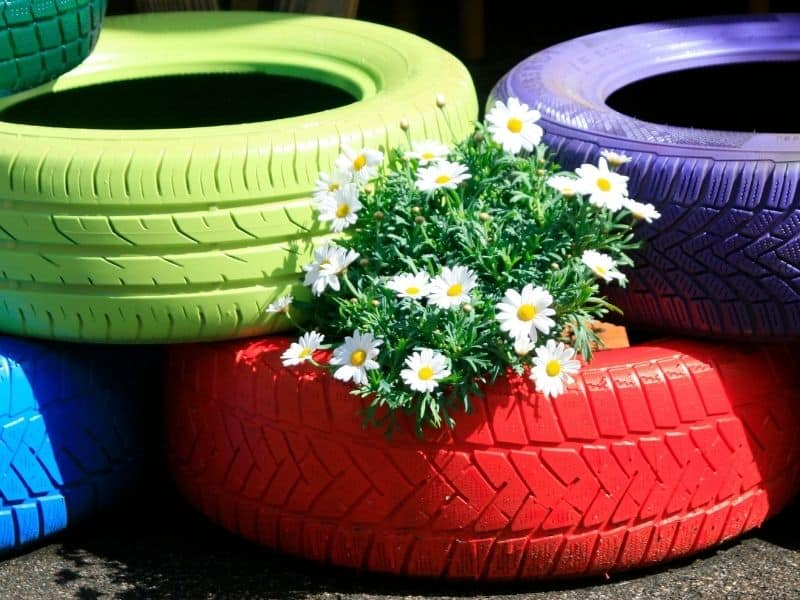 Painted tires used as flower bed edging