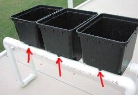 where the buckets will drain into pipe