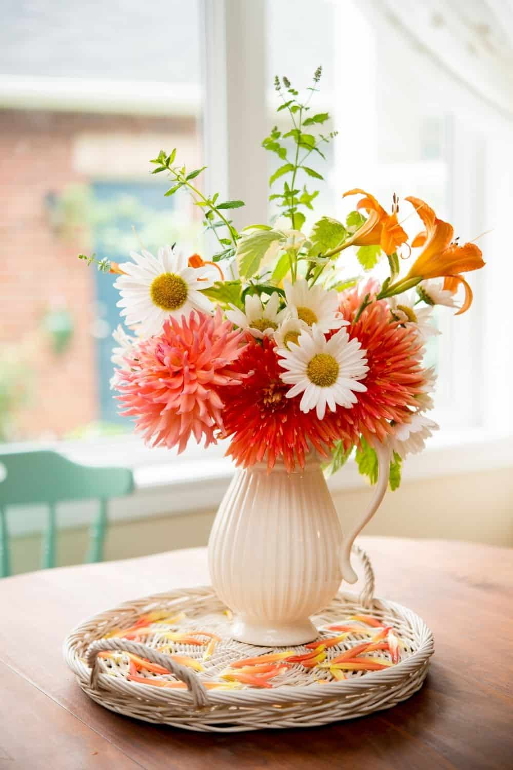 brightly colored bouquet in white vase