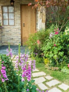 A cozy backyard with stone walkway and perennial flowers