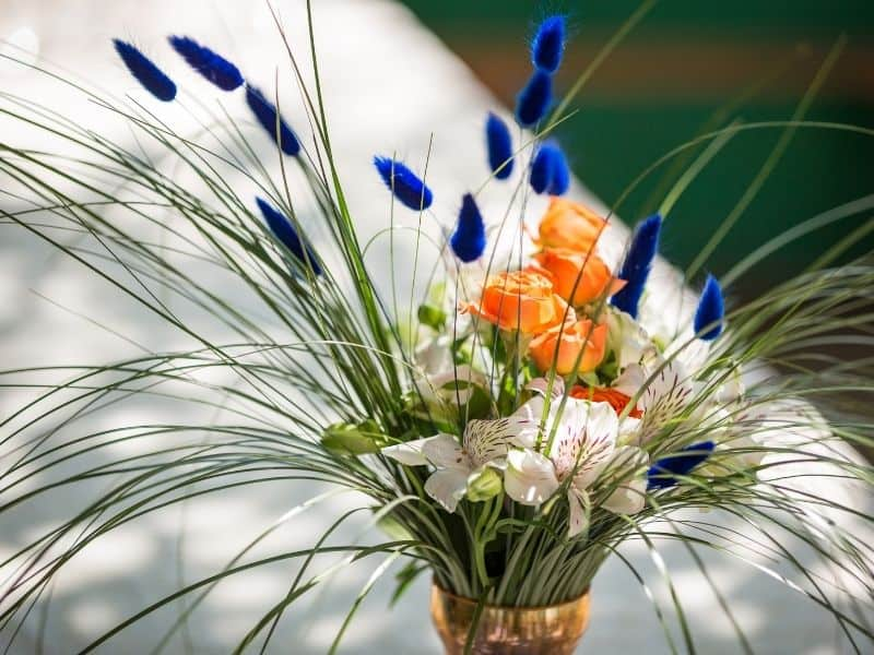 flower bouquet with long green spiky leaves and dark blue poofy blooms