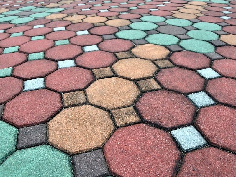 colored brick pathway