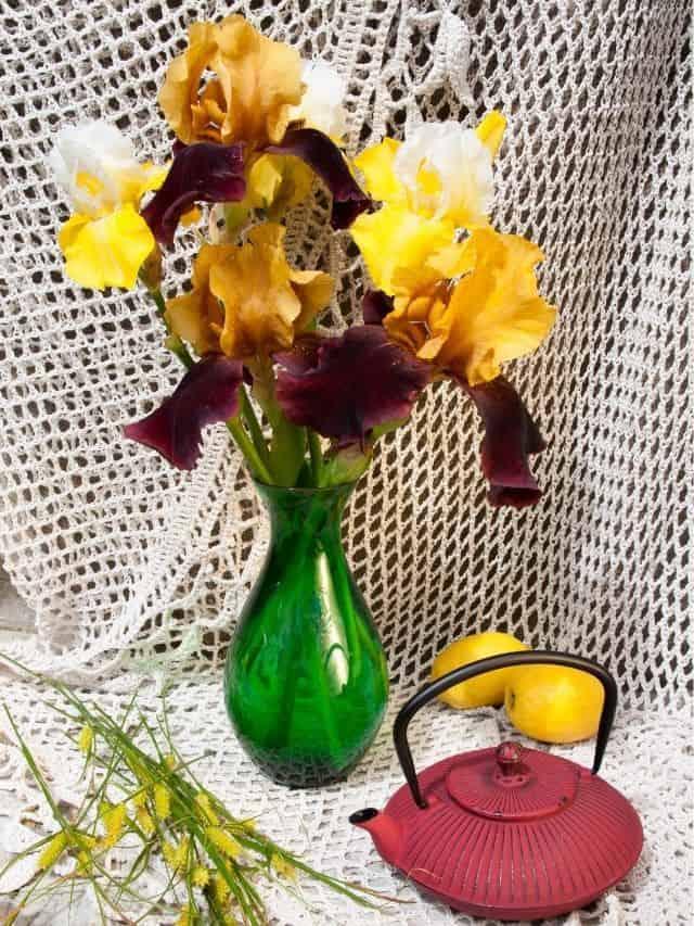 iris bouquet in green vase